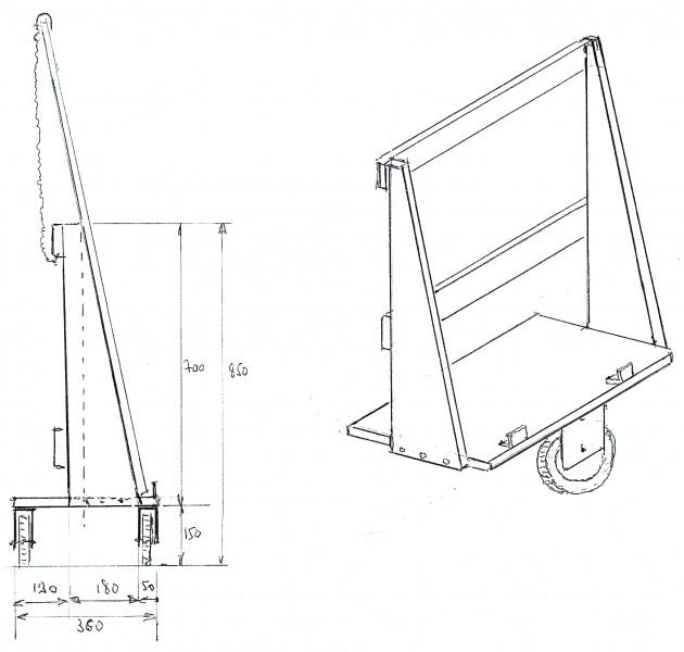 Chariot pour transport des panneaux